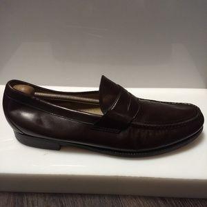 SAS USA Burgundy Leather Moc Toe Penny Loafer